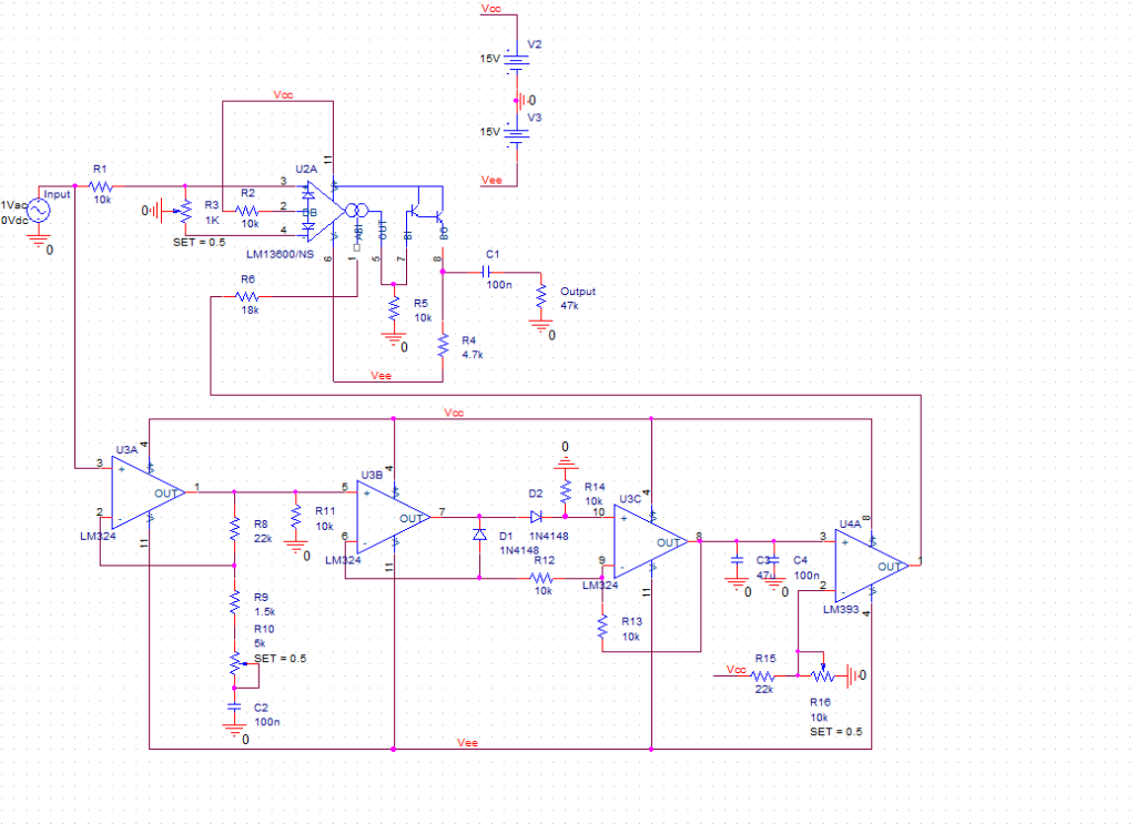LM13600 Noise Gate Temp Schematic